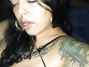 Latina woman with big lips sucking cock and swallowing the jizz