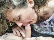 Sexy spouse close up oral sexual intercourse outdoor